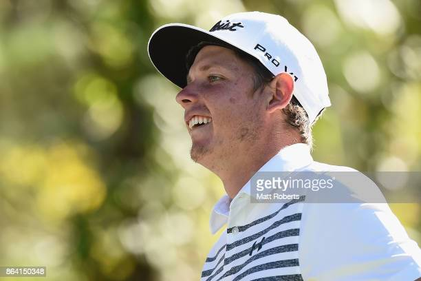 Cameron Smith of Australia smiles during the third round of the CJ Cup at Nine Bridges on October 21 2017 in Jeju South Korea