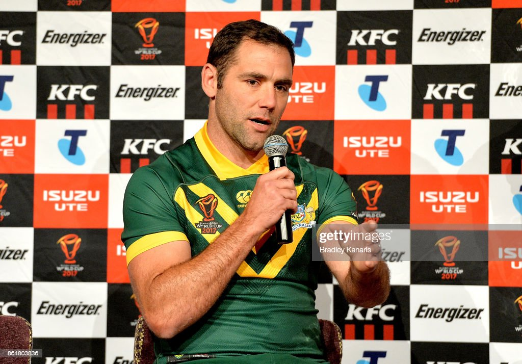 Cameron Smith of Australia speaks during a Rugby League World Cup media opportunity at Sofitel Brisbane on October 22, 2017 in Brisbane, Australia.