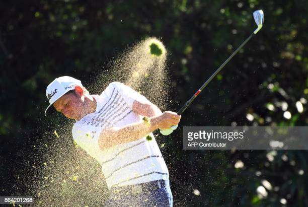 Cameron Smith of Australia tees off on the 7th hole during the third round of the CJ Cup at Nine Bridges in Jeju Island on October 21 2017 / AFP...
