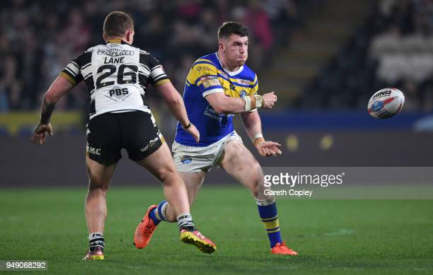 Cameron Smith of Leeds Rhinos during the BetFred Super League match between Hull FC and Leeds Rhinos at KCOM Stadium on April 19 2018 in Hull England