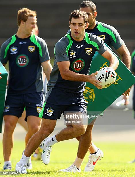 Cameron Smith of the Kangaroos looks to pass the ball during the Australian Kangaroos training session at Western Springs Stadium on April 17 2012 in...
