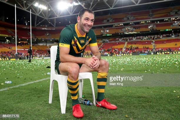 Cameron Smith of the Kangaroos thanks the crowd after winning the 2017 Rugby League World Cup Final between the Australian Kangaroos and England at...