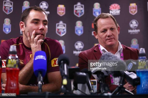 Cameron Smith of the Maroons and Maroons coach Kevin Walters speak at a press conference after game two of the State Of Origin series between the New...