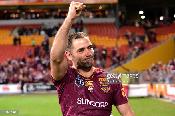 Cameron Smith of the Maroons celebrates victory after game three of the State Of Origin series between the Queensland Maroons and the New South Wales...