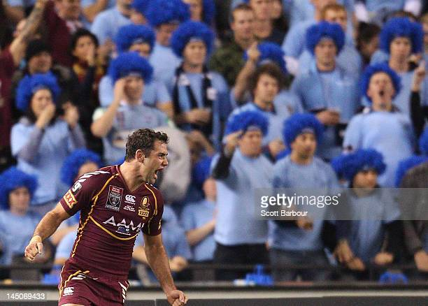 Cameron Smith of the Maroons celebrates winning at fulltime after game one of the ARL State of Origin series between the Queensland Maroons and the...