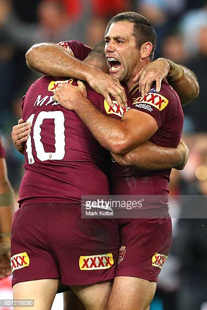 Cameron Smith of the Maroons celebrates winning game one of the State Of Origin series between the New South Wales Blues and the Queensland Maroons...