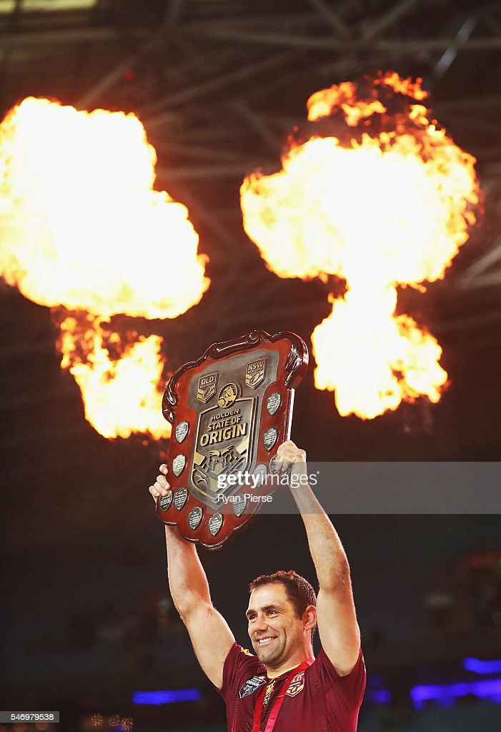 Cameron Smith of the Maroons celebrates with the trophy during game three of the State Of Origin series between the New South Wales Blues and the Queensland Maroons at ANZ Stadium on July 13, 2016 in Sydney, Australia.