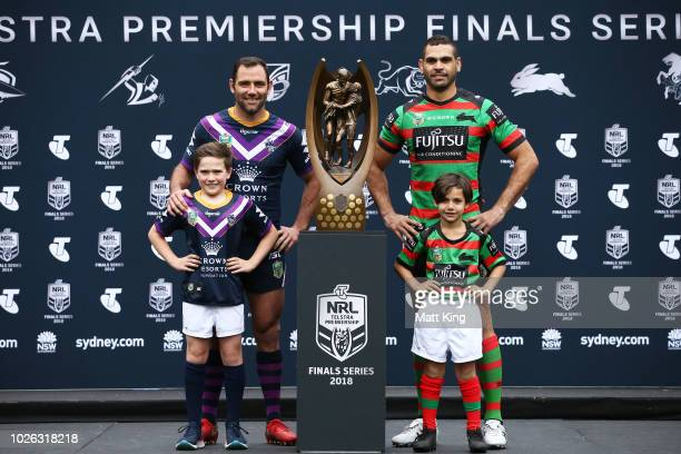 Cameron Smith of the Melbourne Storm and Greg Inglis of the South Sydney Rabbitohs pose during the 2018 NRL Finals Series Launch at Allianz Stadium...
