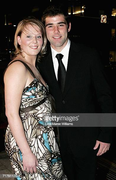 Cameron Smith of the Melbourne Storm and his partner Barb Johnson arrive at the Dally M Awards at Sydney Town Hall September 5, 2006 in Sydney,...