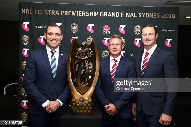 Cameron Smith of the Melbourne Storm Jake Friend of the Sydney Roosters and Boyd Cordner of the Sydney Roosters pose with The ProvanSummons Trophy...