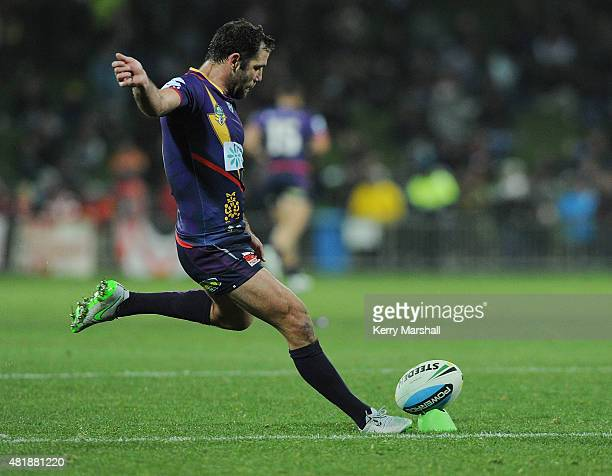 Cameron Smith of the Melbourne Storm kicks a conversion during the round 20 NRL match between the Melbourne Storm and the St George Illawarra Dragons...