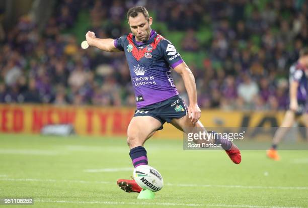Cameron Smith of the Melbourne Storm kicks a conversion during the round eight NRL match between the Melbourne Storm and New Zealand Warriors at AAMI...