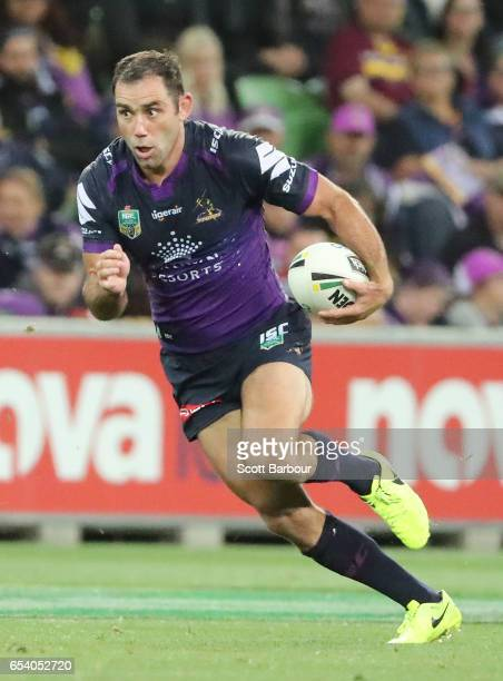 Cameron Smith of the Melbourne Storm lines up the winning conversion during the round three NRL match between the Melbourne Storm and the Brisbane...