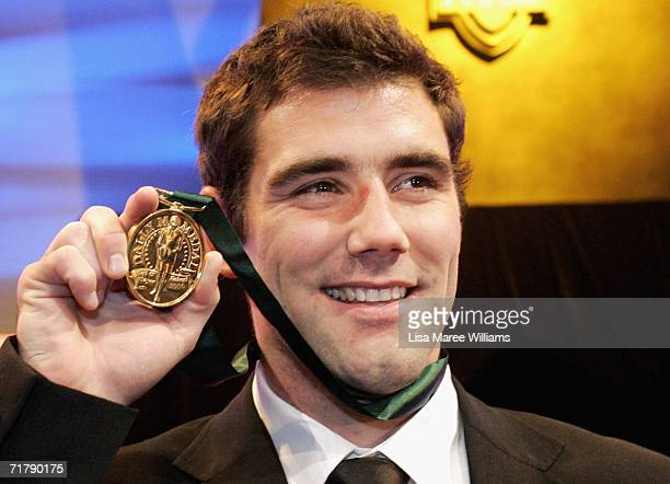 Cameron Smith of the Melbourne Storm poses with the Dally M Award medal after the presentation at the Dally M Awards at Sydney Town Hall September 5,...