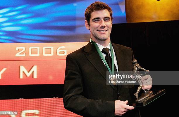 Cameron Smith of the Melbourne Storm poses with the Dally M Award medal and trophy after the presentation at the Dally M Awards at Sydney Town Hall...