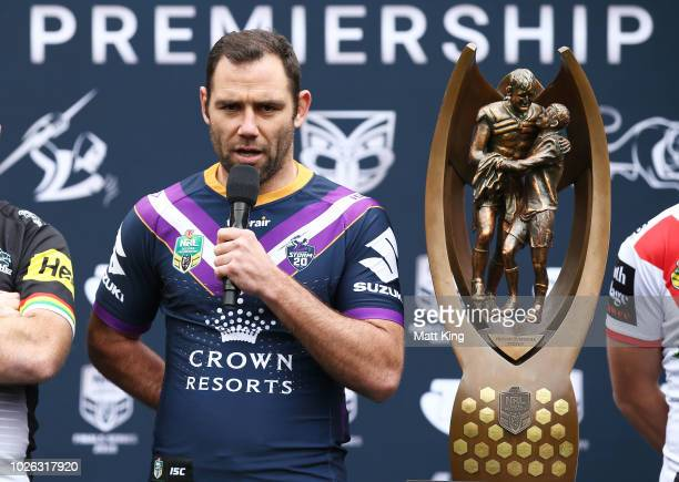Cameron Smith of the Melbourne Storm speaks during the 2018 NRL Finals Series Launch at Allianz Stadium on September 3 2018 in Sydney Australia