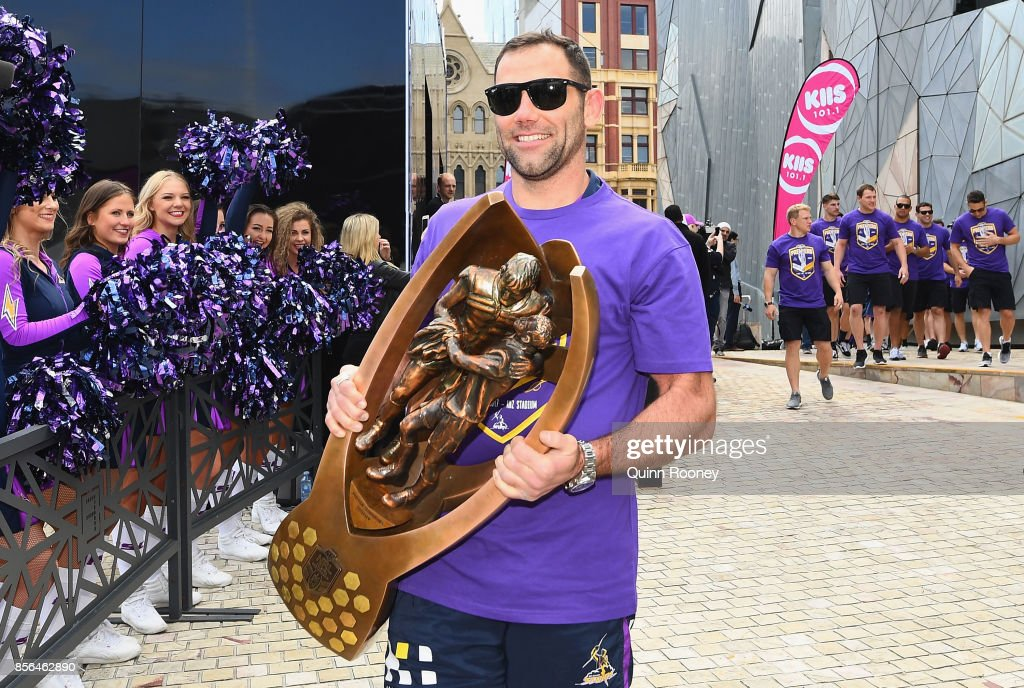 Cameron Smith of the Storm arrives with the NRL premiership trophy during the Melbourne Storm NRL Grand Final celebrations at Federation Square on October 2, 2017 in Melbourne, Australia.