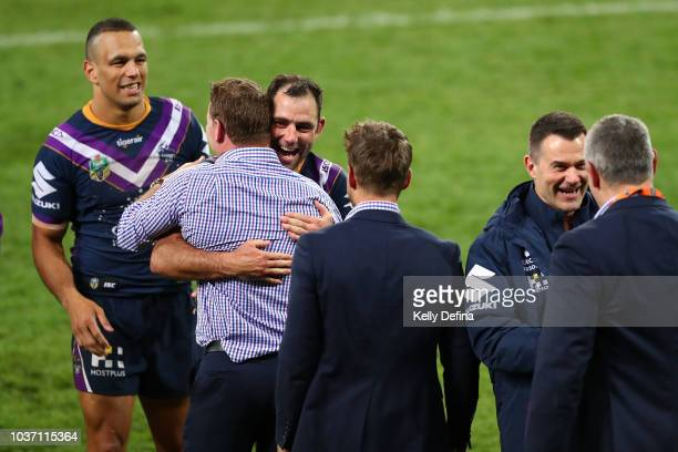 Cameron Smith of the Storm celebrates after winning the NRL Preliminary Final match between the Melbourne Storm and the Cronulla Sharks at AAMI Park...