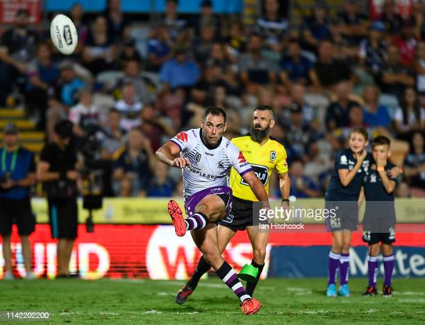 Cameron Smith of the Storm converts a penalty kick to break the all time NRL points scoring record during the round five NRL match between the North...