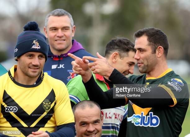 Cameron Smith of the Storm gestures during a Melbourne Storm NRL training session at Gosch's Paddock on July 19 2017 in Melbourne Australia