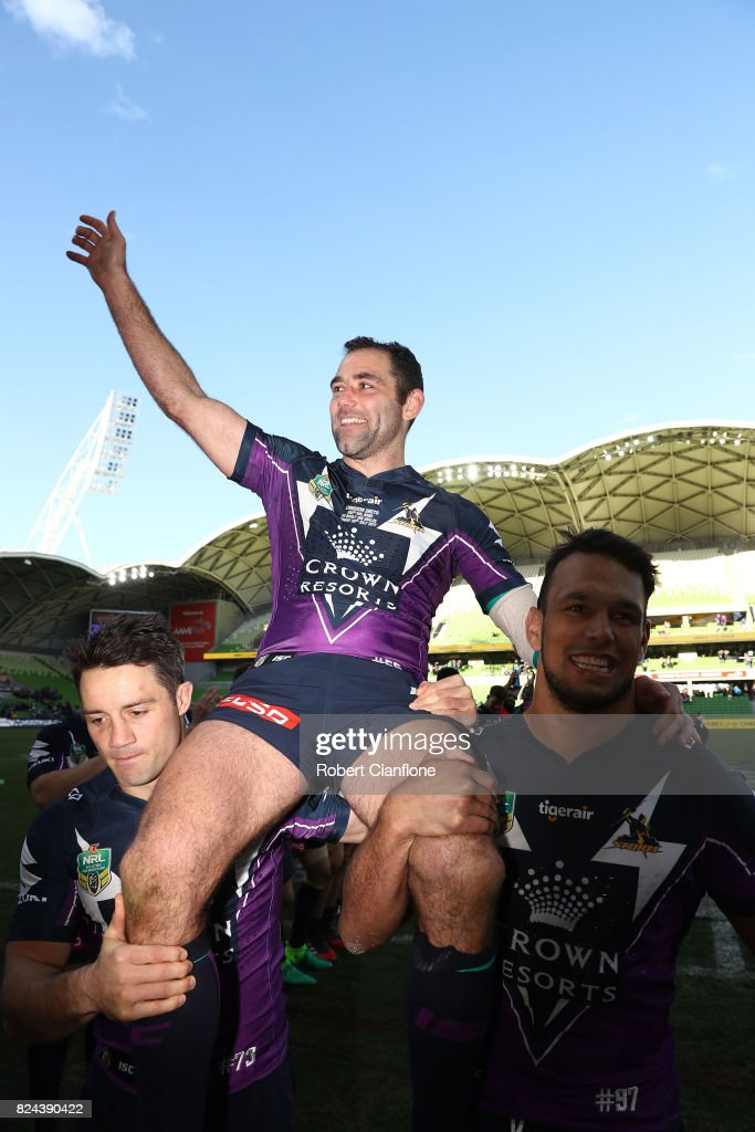 Cameron Smith of the Storm is carried off the ground after he played his 350th match during the round 21 NRL match between the Melbourne Storm and the Manly Sea Eagles at AAMI Park on July 30, 2017 in Melbourne, Australia.