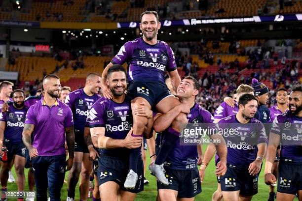 Cameron Smith of the Storm is chaired from the field after the NRL Preliminary Final match between the Melbourne Storm and the Canberra Raiders at...