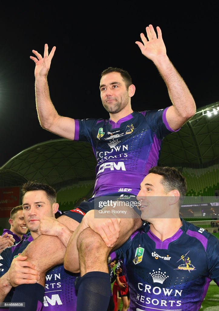 Cameron Smith of the Storm is chaired off in game 356 during the NRL Qualifying Final match between the Melbourne Storm and the Parramatta Eels at AAMI Park on September 9, 2017 in Melbourne, Australia.