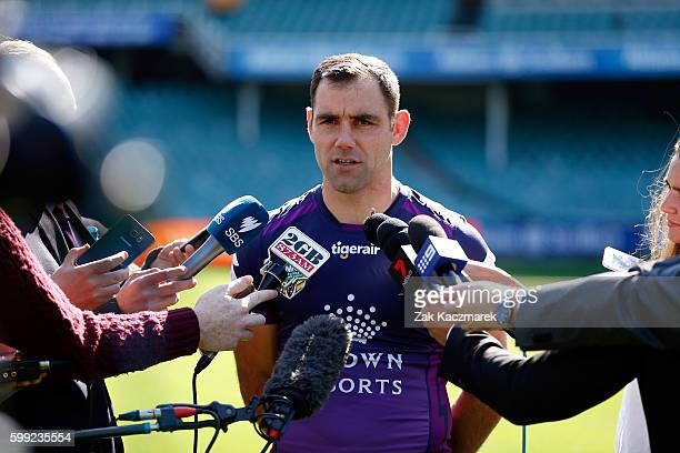 Cameron Smith of the Storm is interviewed during the 2016 NRL Finals series launch at Allianz Stadium on September 5 2016 in Sydney Australia