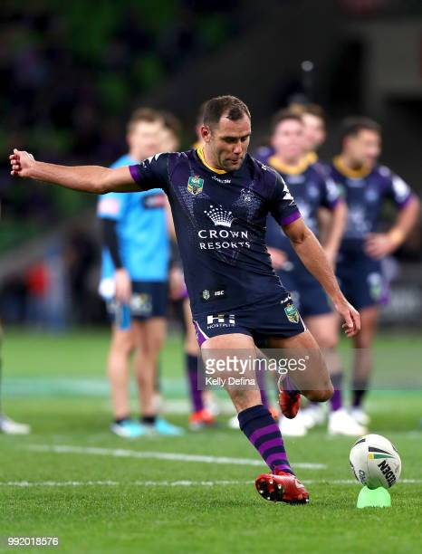 Cameron Smith of the Storm kicks a conversion during the round 17 NRL match between the Melbourne Storm and the St George Illawarra Dragons at AAMI...