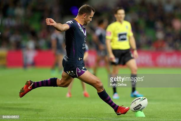 Cameron Smith of the Storm kicks a conversion during the round six NRL match between the Melbourne Storm and the Newcastle Knights at AAMI Park on...