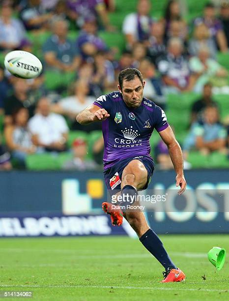 Cameron Smith of the Storm kicks during the round one NRL match between the Melbourne Storm and the St George Illawarra Dragons at AAMI Park on March...