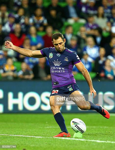 Cameron Smith of the Storm kicks during the round six NRL match between the Melbourne Storm and the Canterbury Bulldogs at AAMI Park on April 11 2016...