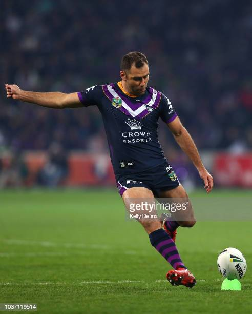 Cameron Smith of the Storm kicks the ball during the NRL Preliminary Final match between the Melbourne Storm and the Cronulla Sharks at AAMI Park on...