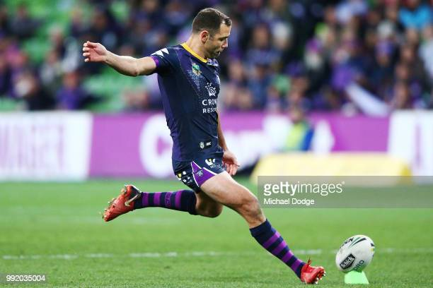 Cameron Smith of the Storm kicks the ball during the round 17 NRL match between the Melbourne Storm and the St George Illawarra Dragons at AAMI Park...