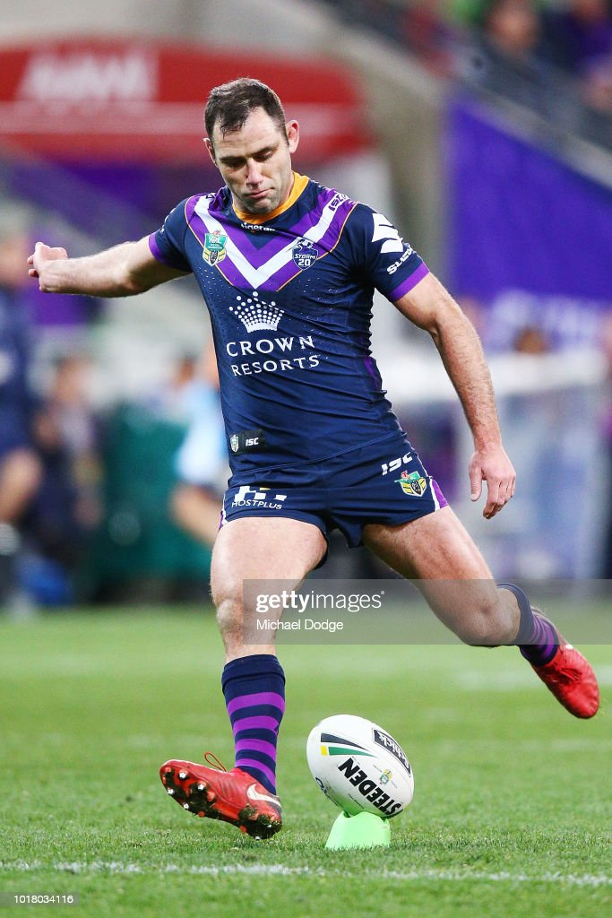 Cameron Smith of the Storm kicks the ball during the round 23 NRL match between the Melbourne Storm and the Parramatta Eels at AAMI Park on August 17, 2018 in Melbourne, Australia.