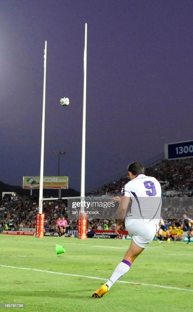 Cameron Smith of the Storm kicks the conversion during the round two NRL match between the North Queensland Cowboys and the Melbourne Storm at 1300SMILES Stadium on March 16, 2013 in Townsville, Australia.