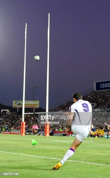 Cameron Smith of the Storm kicks the conversion during the round two NRL match between the North Queensland Cowboys and the Melbourne Storm at...