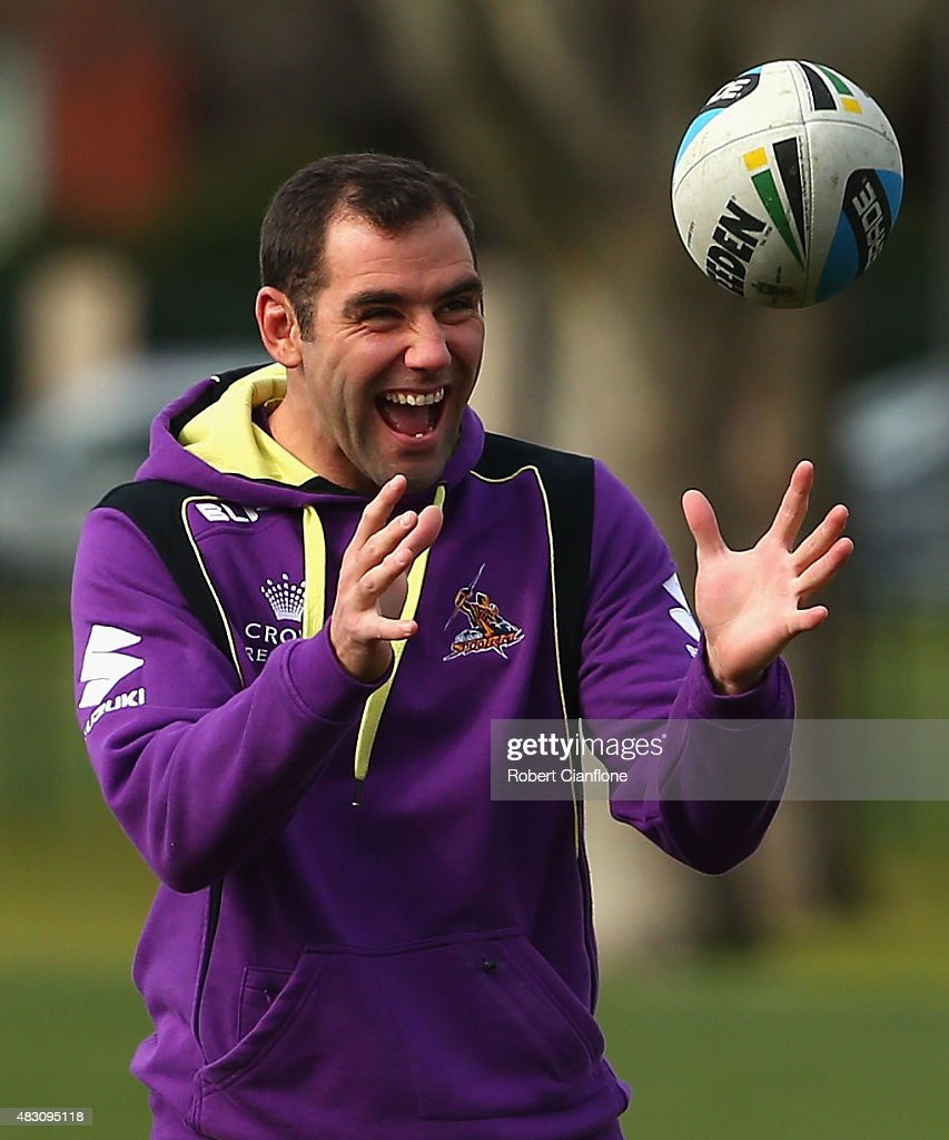 Cameron Smith of the Storm laughs during a Melbourne Storm media session at Gosch's Paddock on August 6, 2015 in Melbourne, Australia.