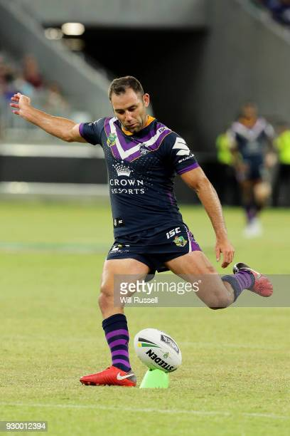 Cameron Smith of the Storm lines up a conversion kick during the round one NRL match between the Canterbury Bulldogs and the Melbourne Storm at Optus...