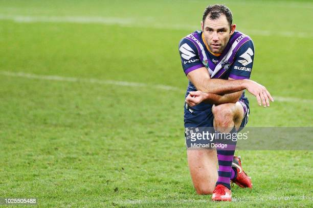 Cameron Smith of the Storm look dejected after defeat after defeat during the round 25 NRL match between the Melbourne Storm and the Penrith Panthers...