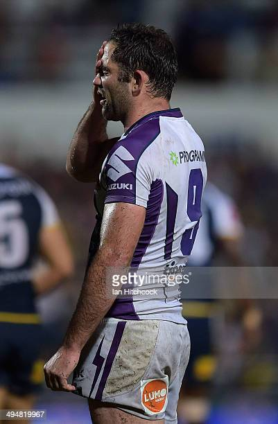 Cameron Smith of the Storm looks dejected during the round 12 NRL match between the North Queensland Cowboys and the Melbourne Storm at 1300SMILES...