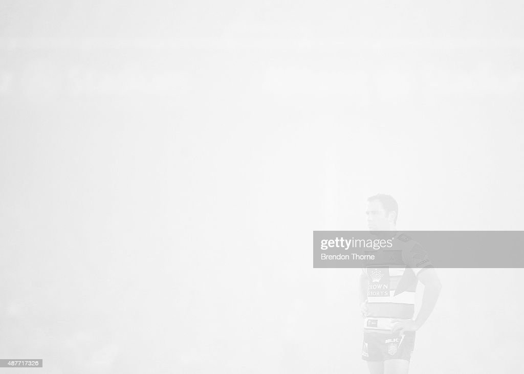 Cameron Smith of the Storm looks on during the NRL qualifying final match between the Sydney Roosters and the Melbourne Storm at Allianz Stadium on September 11, 2015 in Sydney, Australia.