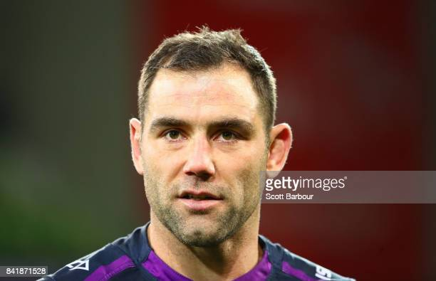 Cameron Smith of the Storm looks on during the round 26 NRL match between the Melbourne Storm and the Canberra Raiders at AAMI Park on September 2...