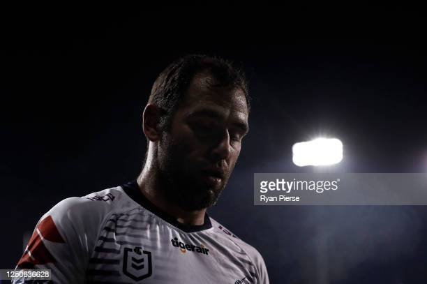 Cameron Smith of the Storm looks on during the round six NRL match between the Penrith Panthers and the Melbourne Storm at Campbelltown Stadium on...