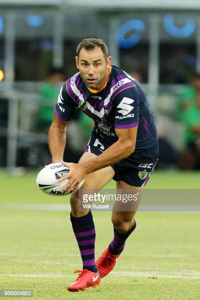 Cameron Smith of the Storm looks to pass the ball during the round one NRL match between the Canterbury Bulldogs and the Melbourne Storm at Optus...