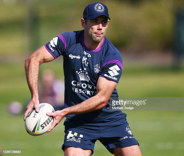 Cameron Smith of the Storm passes the ball during a Melbourne Storm NRL training session at Gosch's Paddock on September 24 2018 in Melbourne...