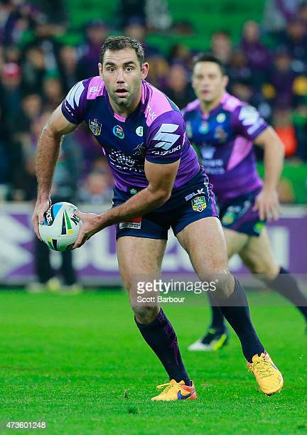 Cameron Smith of the Storm passes the ball during the round 10 NRL match between the Melbourne Storm and the South Sydney Rabbitohs at AAMI Park on...