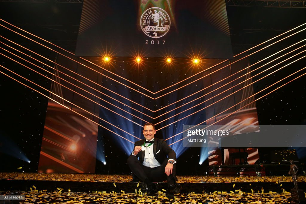 Cameron Smith of the Storm poses after winning the Dally M Medal during the 2017 Dally M Awards at The Star on September 27, 2017 in Sydney, Australia.
