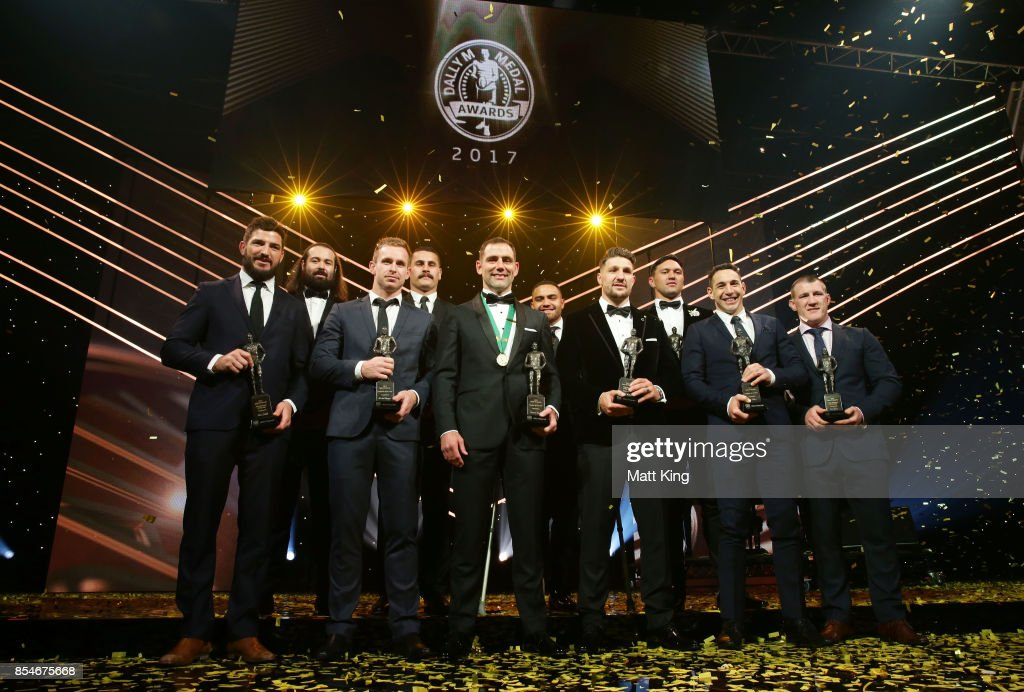Cameron Smith of the Storm poses after winning the Dally M Medal with NRL Team of the Year winners during the 2017 Dally M Awards at The Star on September 27, 2017 in Sydney, Australia.