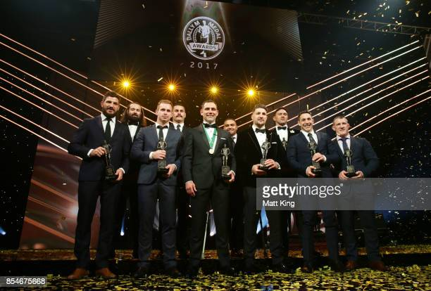 Cameron Smith of the Storm poses after winning the Dally M Medal with NRL Team of the Year winners during the 2017 Dally M Awards at The Star on...